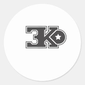3KO blanco básico T Pegatina Redonda