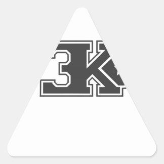 3KO blanco básico T Pegatina Triangular