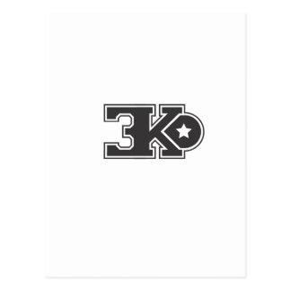 3KO blanco básico T Tarjetas Postales
