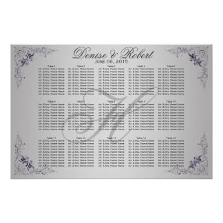 #3Ornate Purple Silver Floral Swirls Seating Chart Poster