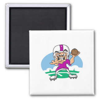 3Purple Football Player 2 Inch Square Magnet