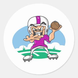 3Purple Football Player Classic Round Sticker