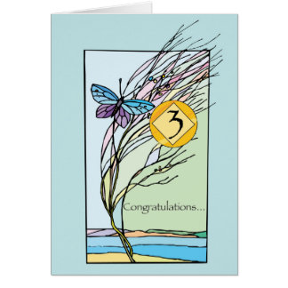 3rd Anniversary 12 Step Recovery Support, Encourag Card