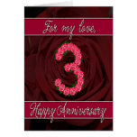 3rd anniversary card with roses and leaves