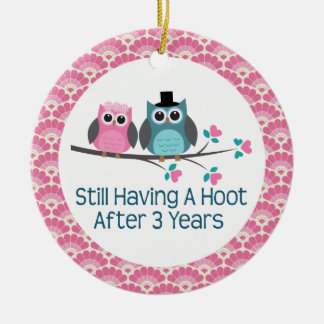 3rd Anniversary Owl Wedding Anniversaries Gift Double-Sided Ceramic Round Christmas Ornament