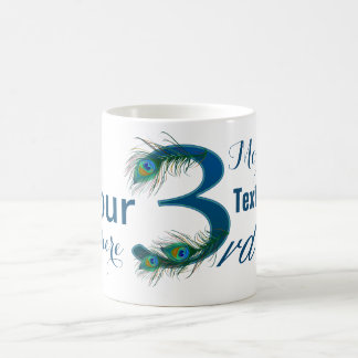 3rd Anniversary peacock decorative numbers gifts Coffee Mug
