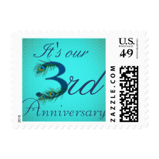3rd Anniversary peacock decorative numbers gifts Postage Stamp