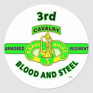 "3RD ARMORED CAVALRY REGIMENT ""BRAVE RIFLES"" CLASSIC ROUND STICKER"