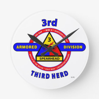 """3RD ARMORED DIVISION """"SPEARHEAD-THIRD HERD"""" ROUND WALLCLOCKS"""