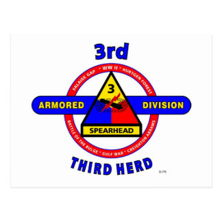 """3RD ARMORED DIVISION """"SPEARHEAD-THIRD HERD"""" POSTCARD"""