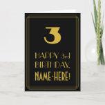 "[ Thumbnail: 3rd Birthday – Art Deco Inspired Look ""3"" & Name Card ]"