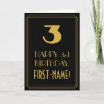 "[ Thumbnail: 3rd Birthday ~ Art Deco Inspired Look ""3"" & Name Card ]"
