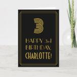 "[ Thumbnail: 3rd Birthday: Art Deco Inspired Look ""3"" & Name Card ]"