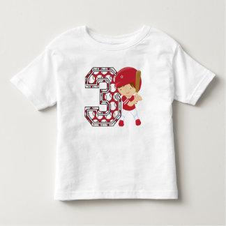 3rd Birthday Baseball Batter Red and White Toddler T-shirt