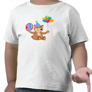 3rd Birthday Bear with Balloons Tee Shirt