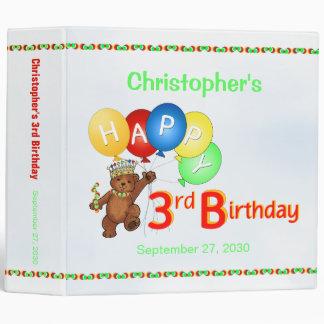 3rd Birthday Bears Memory Album 2 Inch 3 Ring Binder