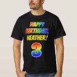 [ Thumbnail: 3rd Birthday — Bold, Fun, Rainbow 3, Custom Name T-Shirt ]