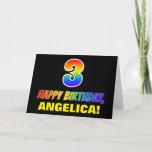 [ Thumbnail: 3rd Birthday: Bold, Fun, Simple, Rainbow 3 Card ]