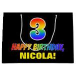 [ Thumbnail: 3rd Birthday: Bold, Fun, Simple, Rainbow 3 Gift Bag ]