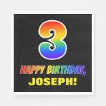 [ Thumbnail: 3rd Birthday: Bold, Fun, Simple, Rainbow 3 Napkins ]