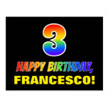 [ Thumbnail: 3rd Birthday: Bold, Fun, Simple, Rainbow 3 Postcard ]