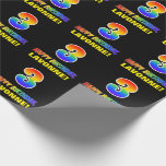 [ Thumbnail: 3rd Birthday: Bold, Fun, Simple, Rainbow 3 Wrapping Paper ]