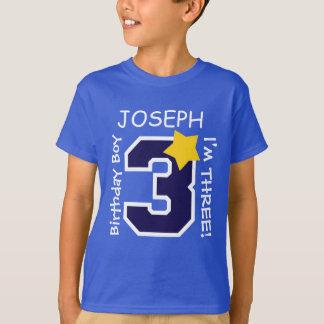 3rd Birthday Boy BLUE One Year Custom Name A02A T-Shirt