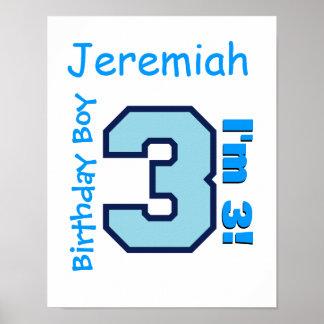 3rd Birthday Boy Blue Three Year Old Custom B3AZ Poster