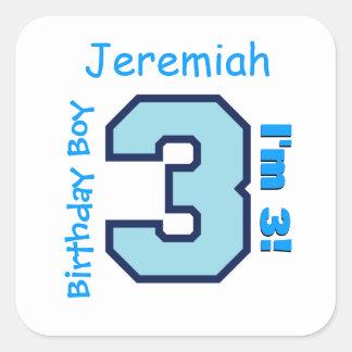 3rd Birthday Boy Blue Three Year Old Custom B3AZ Square Sticker