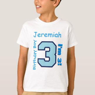3rd Birthday Boy Blue Three Year Old Custom B3AZ T-Shirt