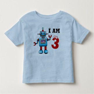 3rd birthday boy gift - robot toddler t-shirt