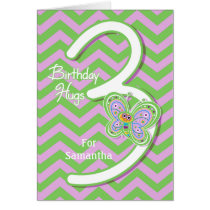 3rd Birthday Butterfly Hugs Custom Card