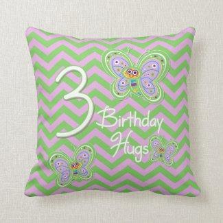 3rd Birthday Butterfly Hugs Pillow