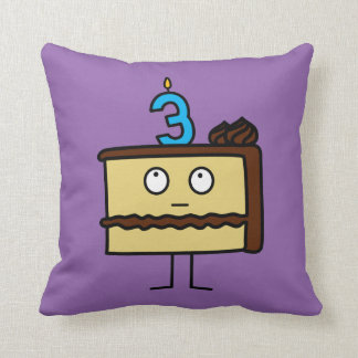 3rd Birthday Cake with Candles Throw Pillow