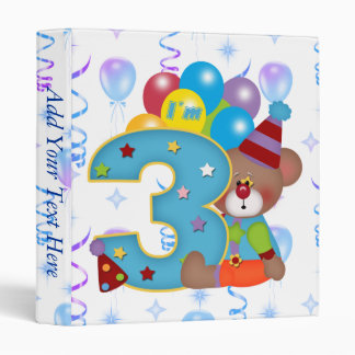 3rd Birthday Clown Bear Birthday Binder