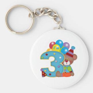 3rd Birthday Clown Bear Birthday Keychain