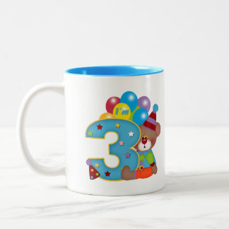 3rd Birthday Clown Bear Birthday Two-Tone Coffee Mug