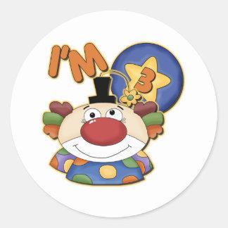 3rd Birthday Clown Birthday Classic Round Sticker