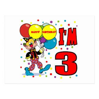 3rd Birthday Clown Birthday Postcard