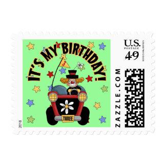 3rd  Birthday Clown Postage