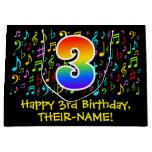 [ Thumbnail: 3rd Birthday - Colorful Music Symbols, Rainbow 3 Gift Bag ]