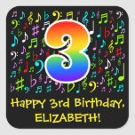 [ Thumbnail: 3rd Birthday: Colorful Music Symbols, Rainbow 3 Sticker ]
