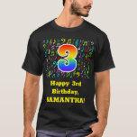 [ Thumbnail: 3rd Birthday: Colorful Music Symbols, Rainbow 3 T-Shirt ]