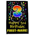 [ Thumbnail: 3rd Birthday: Colorful Stars Pattern & Rainbow 3 Gift Bag ]