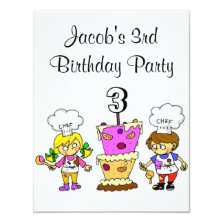 3rd birthday cooking party card