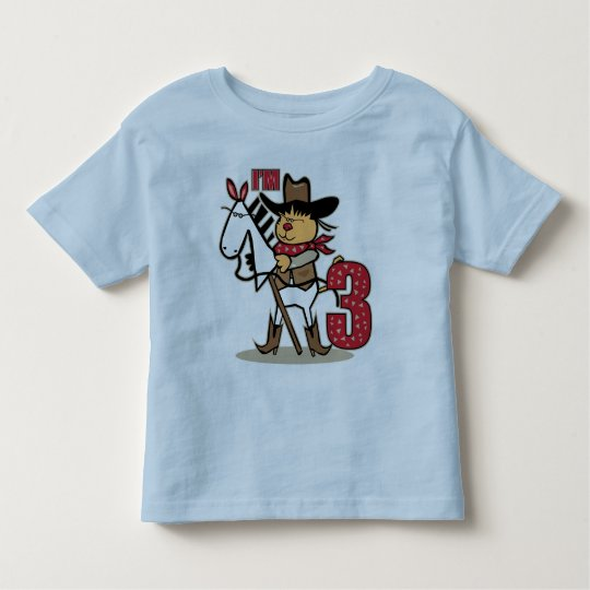 3rd Birthday Cowboy Stick Figure Age 3 Toddler T-shirt