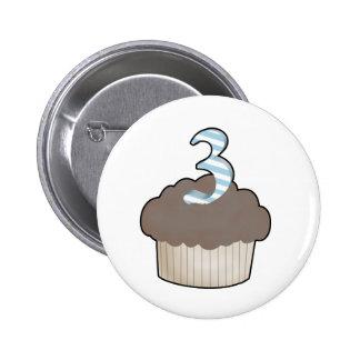 3rd Birthday Cupcake 2 Inch Round Button