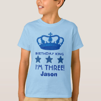 3rd Birthday Custom Name Crown and Stars V20E6 T-Shirt