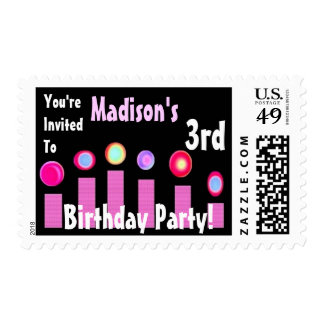 3rd BIrthday Custom Name Party Stamp Pink Candles