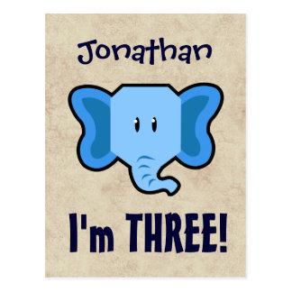 3rd Birthday Cute Blue Elephant Face for BOY E03 Postcard
